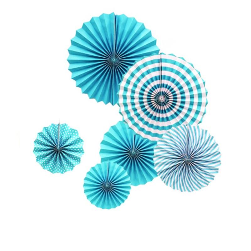 Conjunto Leque De Papel Azul
