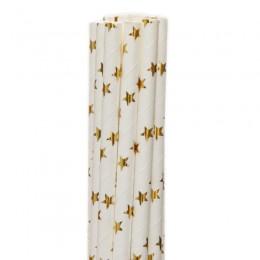 Canudos de Papel Estrela Laminado Dourado
