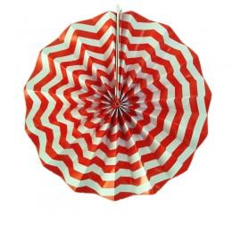 Leque de Papel Vermelho Zig Zag 35cm