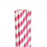 Canudos de Papel Listrados Pink 12 Uni