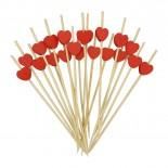 Espetinho Palito de Bambu Coração para Petiscos 12cm com 20un