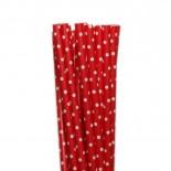 Canudos de Papel Mini Poa Vermelho