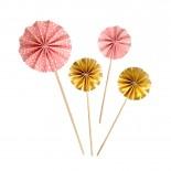 Conjunto Leque Topo para Bolo Rosa com Dourado