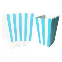 Caixas para Pipoca Listrado Azul Claro