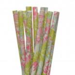 Canudos de Papel Flores Pastel 20 Uni
