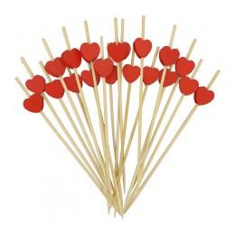 Espetinho Palito de Bambu Coração para Petiscos 12cm com 100un