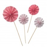 Conjunto Leque Topo para Bolo Rosa