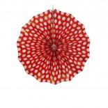 Leque de Papel Vermelho Poá 20cm