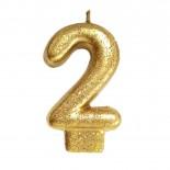 Vela Número 2 Dourada Glitter 8cm
