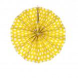 Leque de Papel Amarelo Poá 20cm