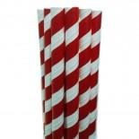 Canudos de Papel para Milkshake Listrado Vermelho Escuro 20 uni