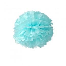 Pompom de Papel de Seda Azul Claro 20cm