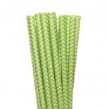 Canudos de Papel Zig Zag Verde Limão