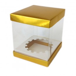 Caixa de PVC para Cupcake Dourada