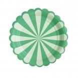 Prato de Papel Listrado Carrossel Verde Água 19cm