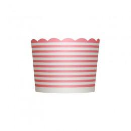 Forminhas para Cupcake de Papel Rosa Claro Chiclete Listrado