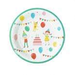 Prato de Papel Crianças em Festa 19cm