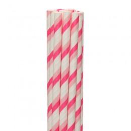 Canudos de Papel Listrado Rosa Claro com Rosa Pink